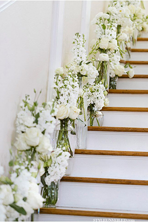 all white wedding staircase decorations for elegant wedding ideas