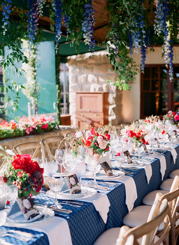 Blue Pink And Red Wedding Reception Ideas