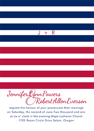 blue red and white patriotic 4th of july themed wedding invitations EWI292