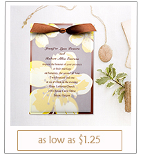brown and yellow flower layered wedding invitations