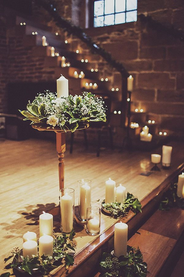 candle decorated lights up wedding staircase ideas