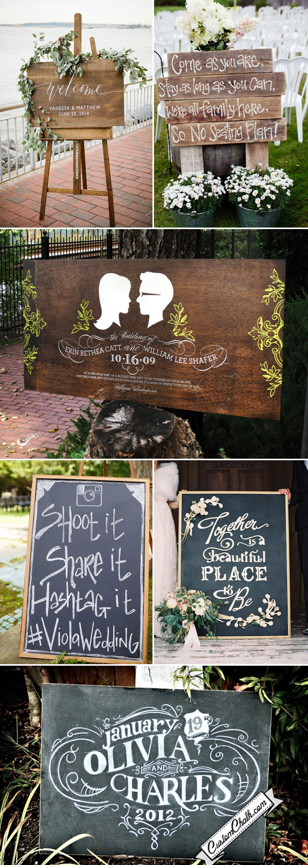country rustic chalkboard and wooden wedding sign ideas
