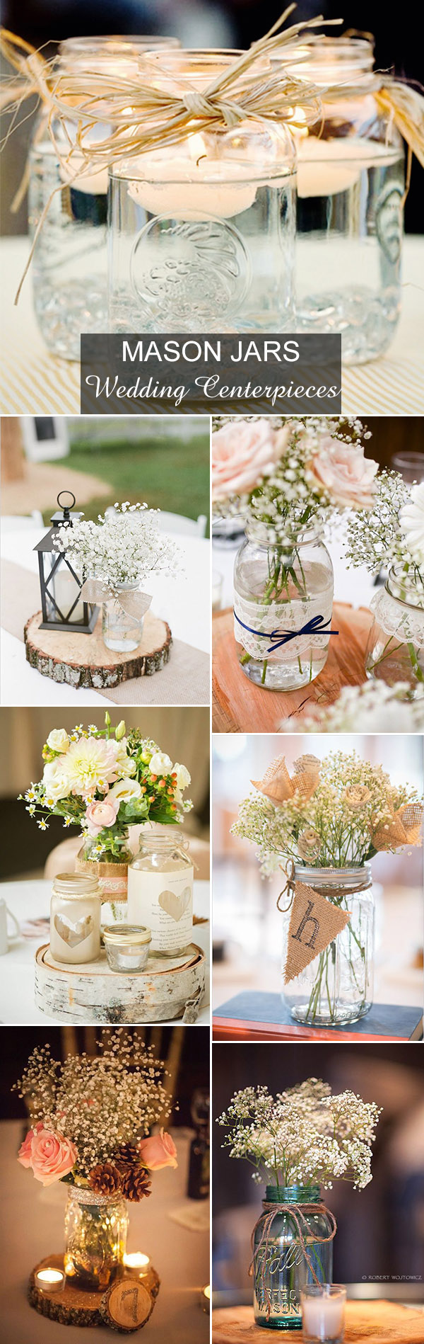 Rustic wedding ideas 30 ways to use mason jars country rustic mason jars inspired wedding centerpieces ideas junglespirit Choice Image