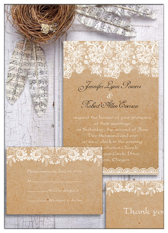 country rustic printed lace wedding invitations ewi270