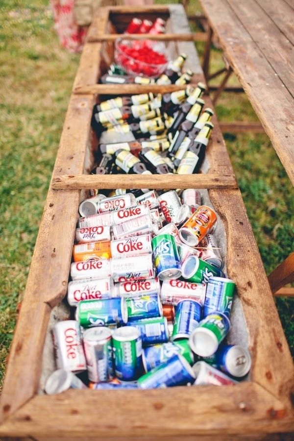 country themed flower box rustic wedding drink cooler ideas
