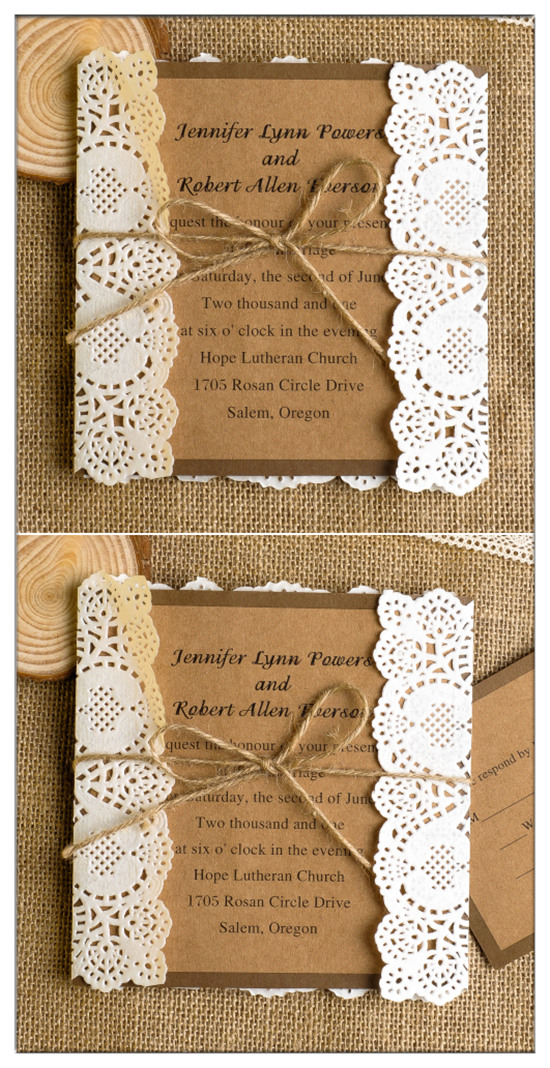 Top 10 Chic Country Rustic Wedding Invitations with RSVP Cards ...