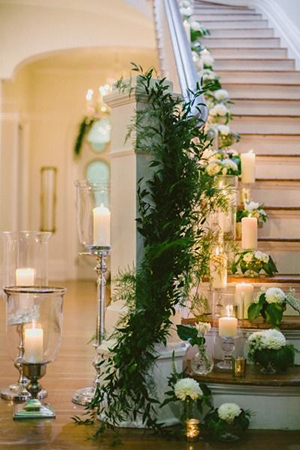 elegant staircase decorations with candles for indoor wedding ideas