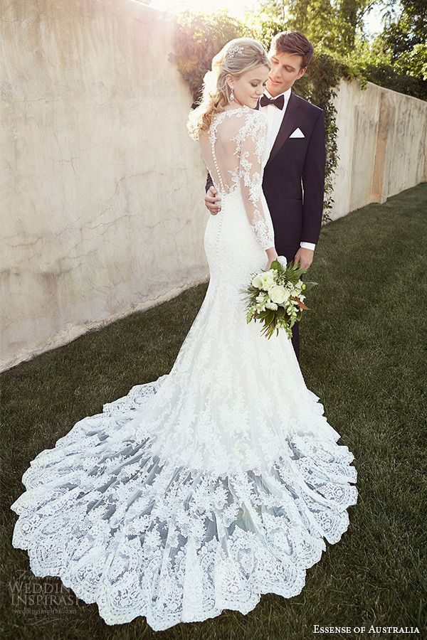 Essense Of Australia Long Sleeve Lace Wedding Dresses 2015