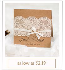 graceful vintage rustic folded wedding invitations with lace