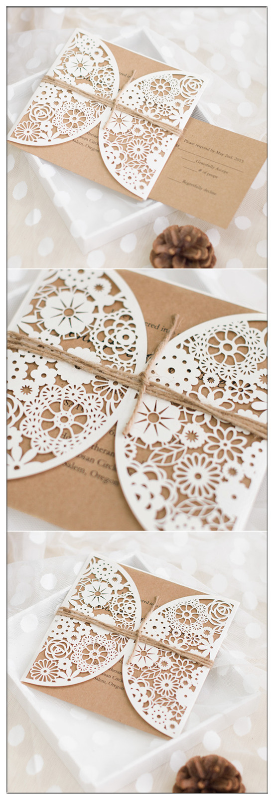 laser cut pocket chic  rustic wedding invitations with burlap