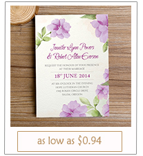 lavender colored country rustic wedding invitations