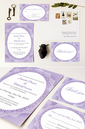 lavender watercolor vintage wedding invitations