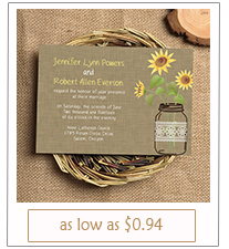 mason jars and sunflowers rustic wedding invitations