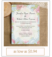 pink and blue floral wedding invitation cards