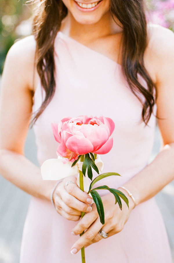 pink peony single flower wedding bouquets for bridesmaids