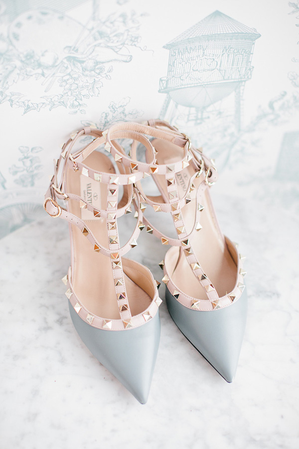 powder blue wedding shoes with rivets