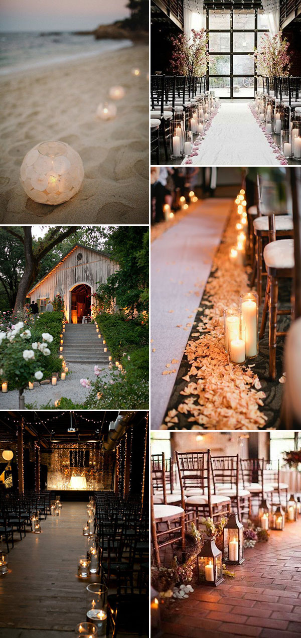 romantic wedding aisle decoration ideas with candles
