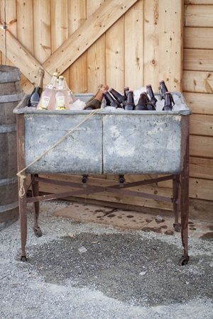 rustic drink cooler for outdoor small weddings