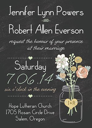 rustic mason jars inspired chalkboard wedding invitations.jpg