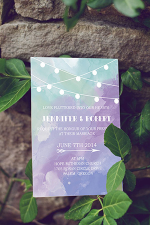 rustic purple and mint watercolor wedding invitations