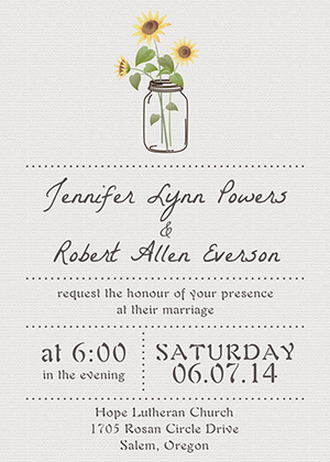 simple sunflower and mason jar wedding invitations EWI355