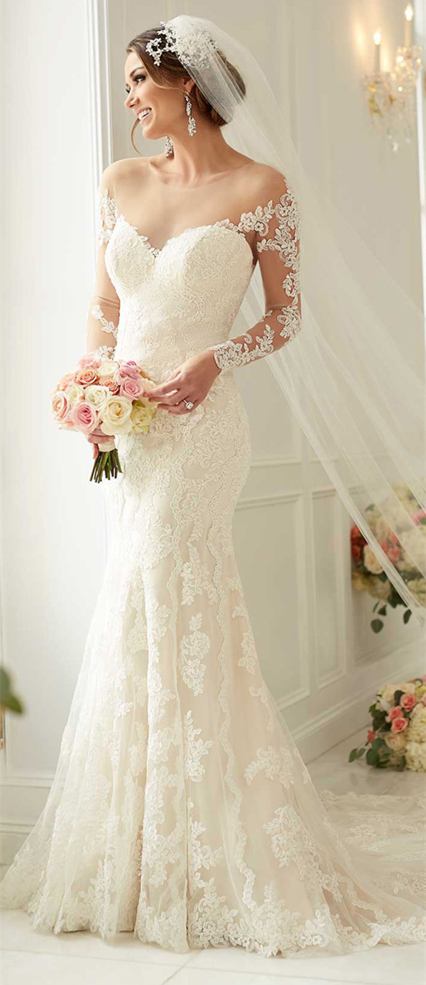 stella york mermaid wedding dresses with long lace sleeves style 6176