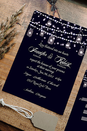 string lights inspired sparkle rustic wedding invitations