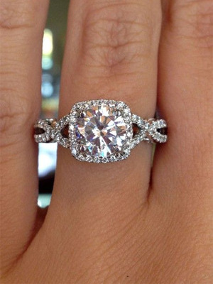 twisted double band princess cut diamond wedding engagement rings