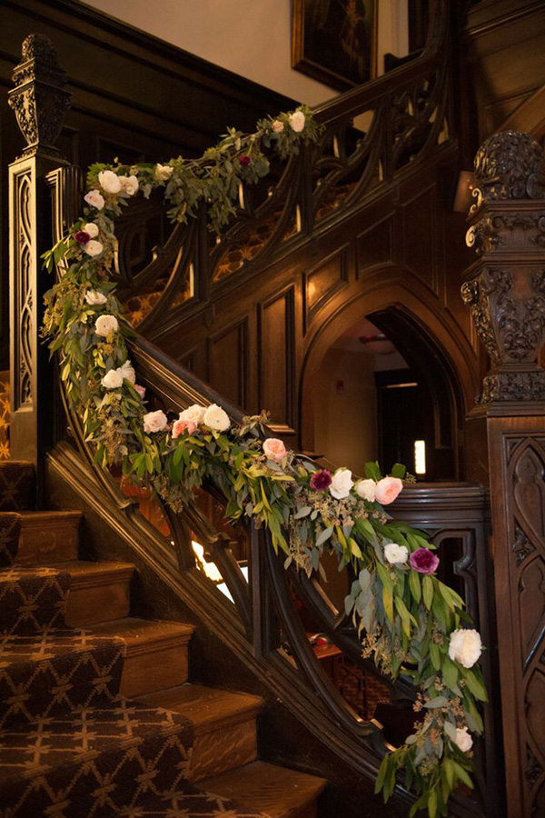 vintage themed foral wedding staircase decoration ideas