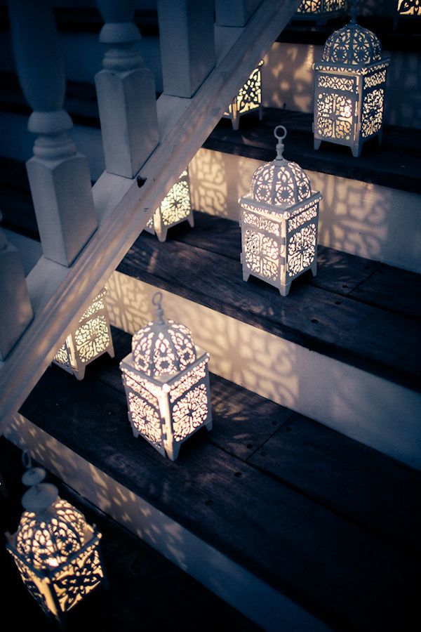whimsical lantern staircase decorations ideas for evening wedding receptions