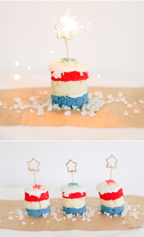 white blue and red sparkling 4th of July wedding cakes