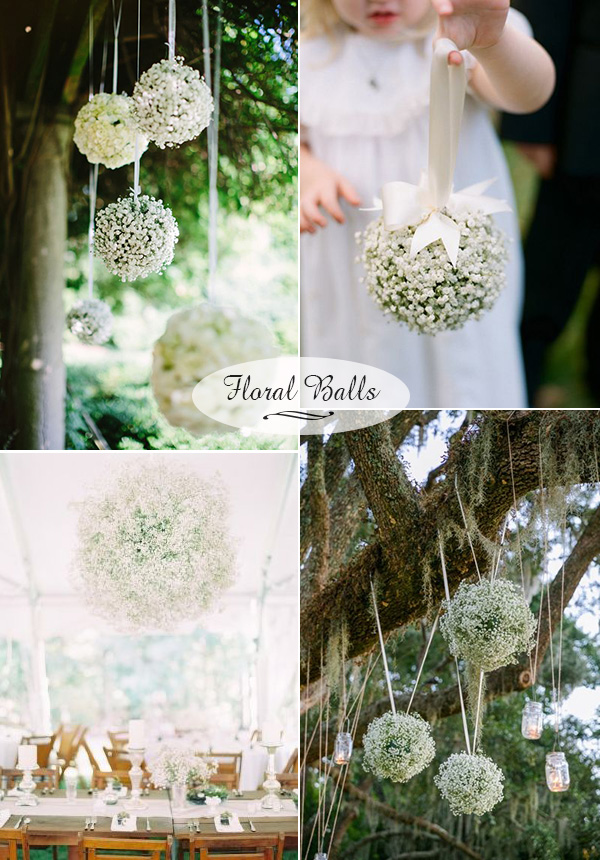 baby's breath floral balls for outdoor wedding decoration ideas