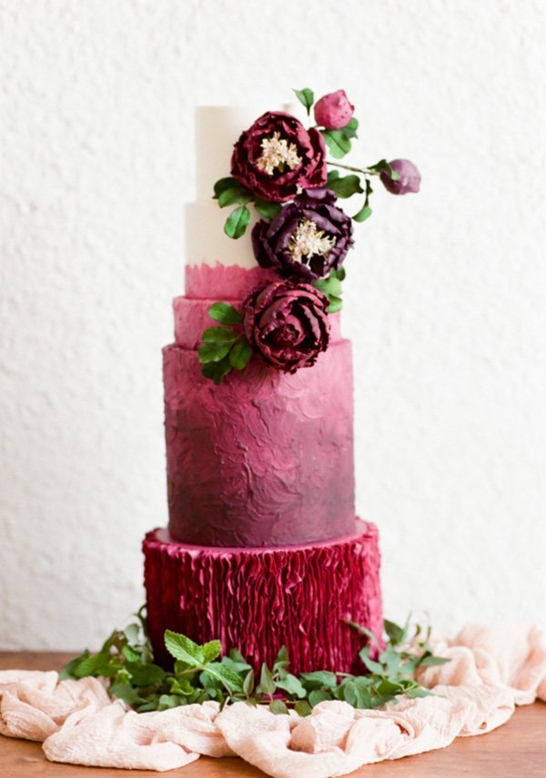 berry hues romantic wedding cakes with floral decorated for fall weddings