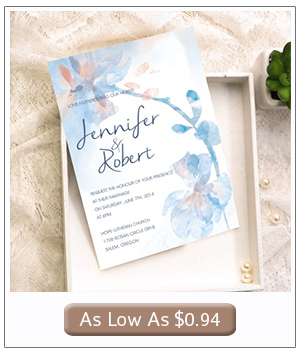 blue and peach watercolor wedding invitation cards with free rsvp cards