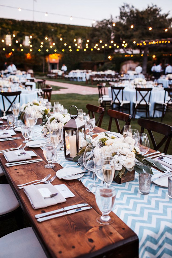Chic Rustic Chevon Table Runners For Outdoor Wedding Ideas With Laterns