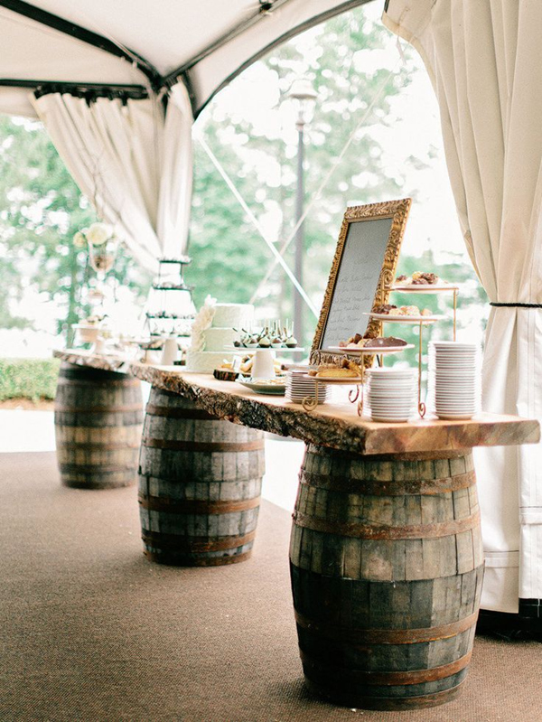 chic rustic wine barrel stand buffet for wedding reception ideas