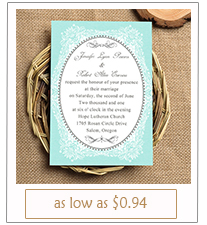 chic vintage tiffany themed wedding invitation cards with printed lace