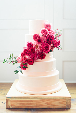 classic buttercream wedding cakes with pink flowers
