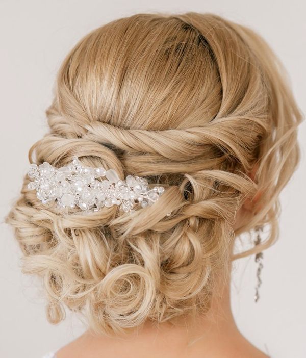 20 most elegant and beautiful wedding hairstyles classic updo twist wedding hairstyles with headpiece junglespirit Images