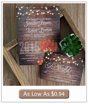 country rustic fall wedding invitations with string lights