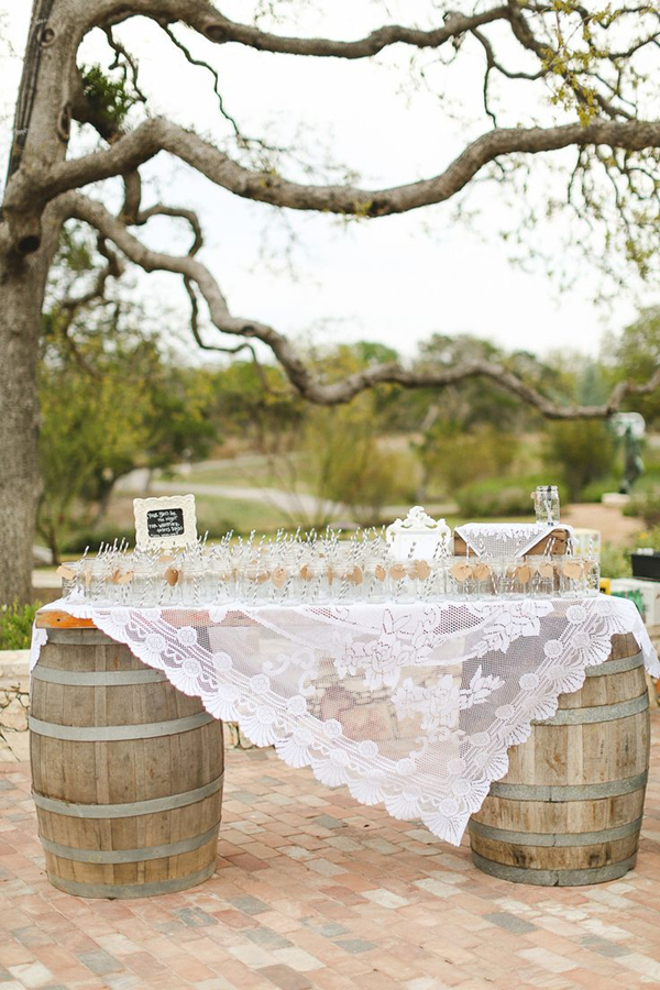 country rustic outdoor wedding ideas with wine barrel stand signature drinks