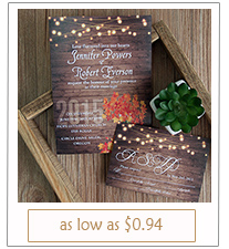 country rustic string lights and mason jars fall wedding invitation cards
