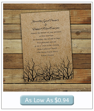 country rustic themed winter wedding invitations
