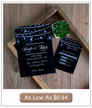 country rustic wedding invitations with string lights decorations