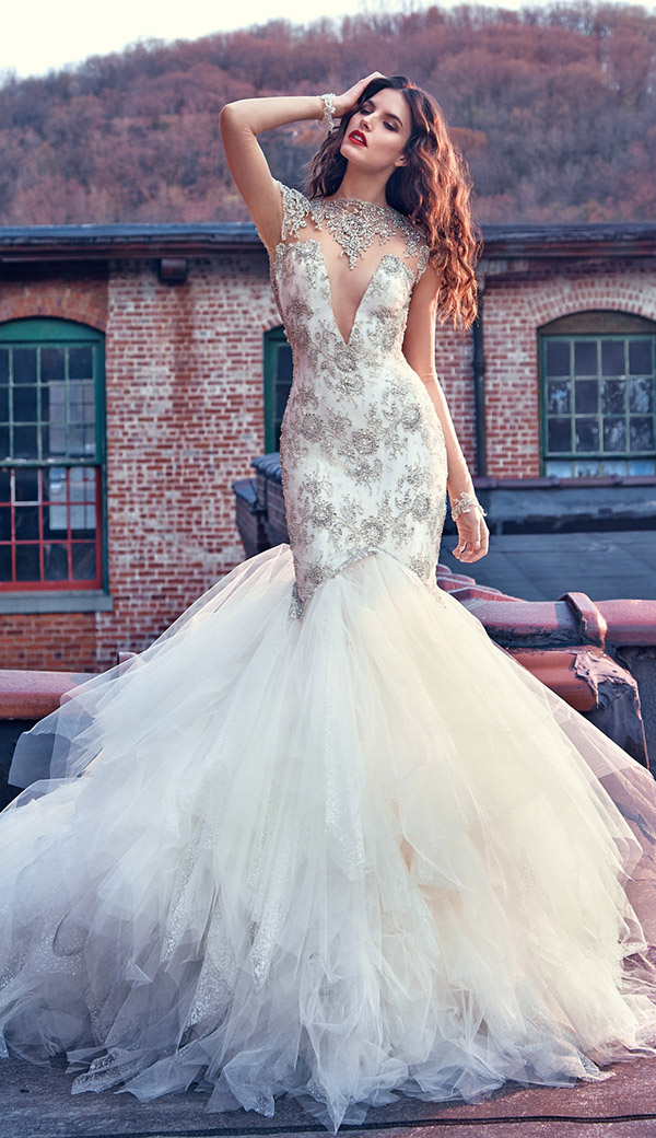 deep plunging v shape with high collar sequins wedding dresses from Galia Lahav Les Reves Bohemians collection Felicity Front