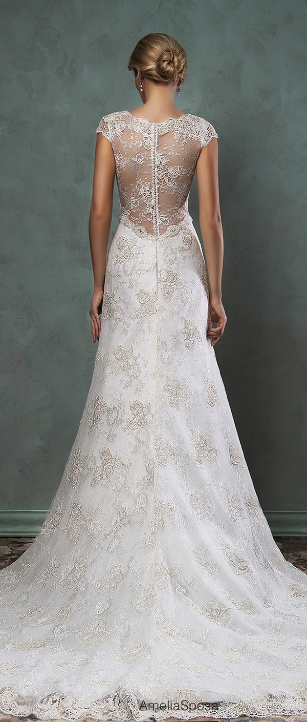 delicate lace wedding dresses with illusion back by amelia sposa 2016 donata