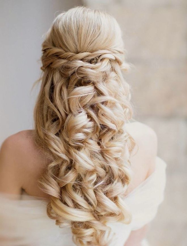 Elegant Half Up And Down Wedding Hairstyle For Long Hair