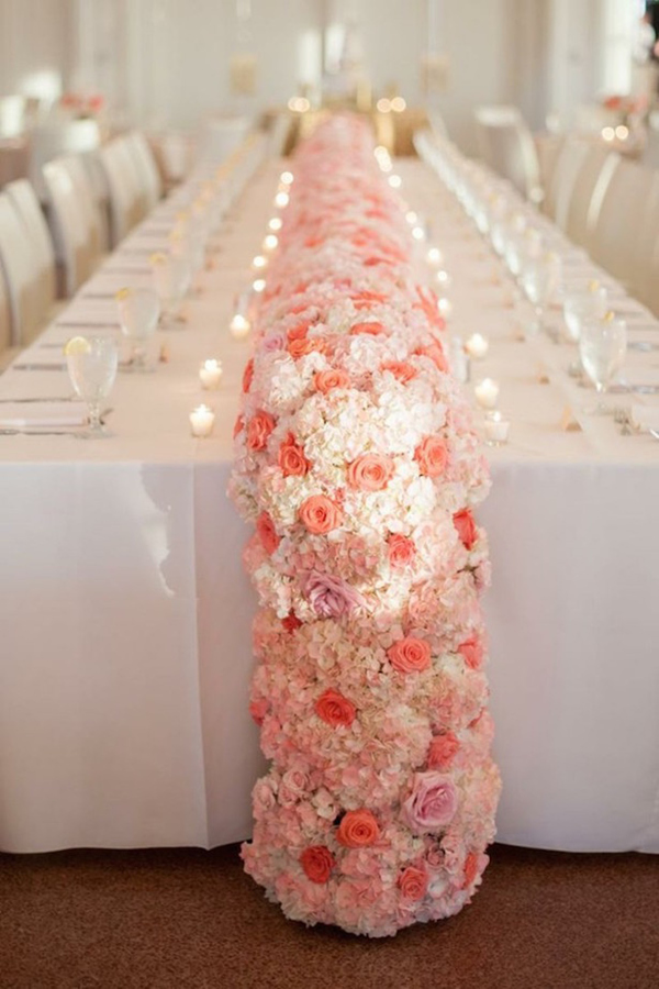 elegant pink flower table garland runners for wedding centerpiece ideas