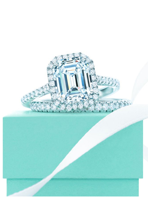 emerald shaped diamond wedding engagement rings with bands from Tiffany's