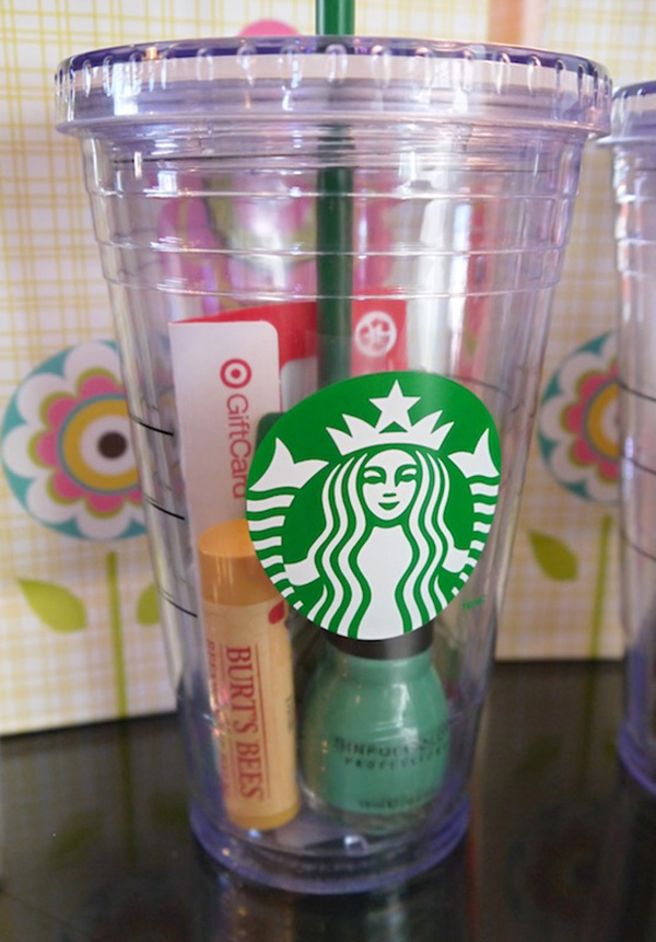 goodies in Starbuck cups for creative bridesmaid gift ideas